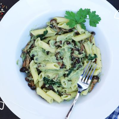 Vegan Mushrooms Penne & Avocado Sauce
