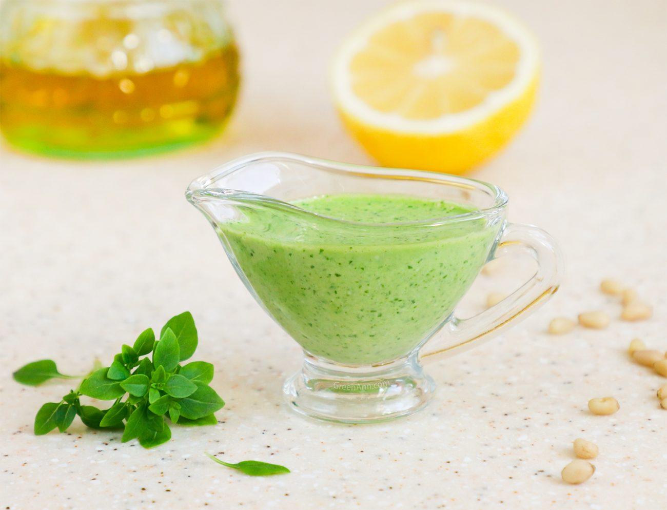 Creamy Vegan Pesto Sauce with Pine Nuts